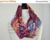SALE Boho Chic Infinity Scarf - Autumn Colors - Butterfly Print Cotton Voile Fabric - Modern Fashion Accessory - Ladies Teens Gifts Under 35