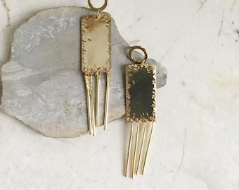 Gold Chandeliers. Bold Modern Earrings. Statement Earrings. Gold Fringe. Brass Dangles. Long Gold Dangle Earrings. Modern Minimal Earrings.