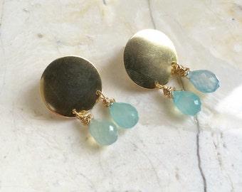 Chalcedony Stud Earrings. Post Back Earrings. Gold Button Earrings. Pale Blue Green Stones. Simple Dangles. Double Drops. Stone Earrings.