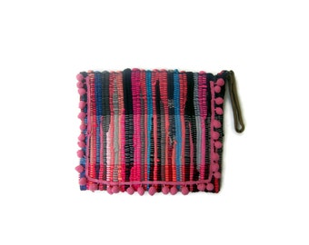 Pom Pom Kilim Bag. Small Boho Chic Purse. Colorful Womens Gift. Kourelou Boho Bag. Bohemian Clutch. Gift for Her. Festival Wear. Hippie Bag
