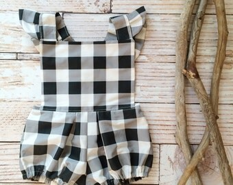 Romper baby girl 6 month photo outfit girl half birthday photo prop boho jumper jumpsuit sunsuit buffalo check plaid ruffle black white