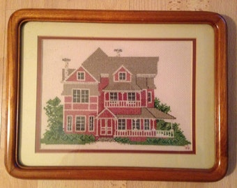 Framed Cross Stitch Embroidery Victorian House Sampler