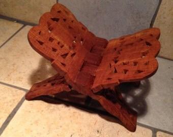 Hand Carved Folding Wooden Book Holder Rack