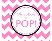 Baby Shower About to Pop labels, Hot Pink Chevron, Square About to Pop Stickers, Baby Shower Labels