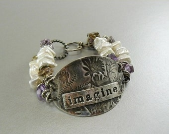 Imagine Buckle Braclet with Fine and stelring Silver, Ametrine and Pearls classic original oxidized pmc summer white OOAK Unique Artisan