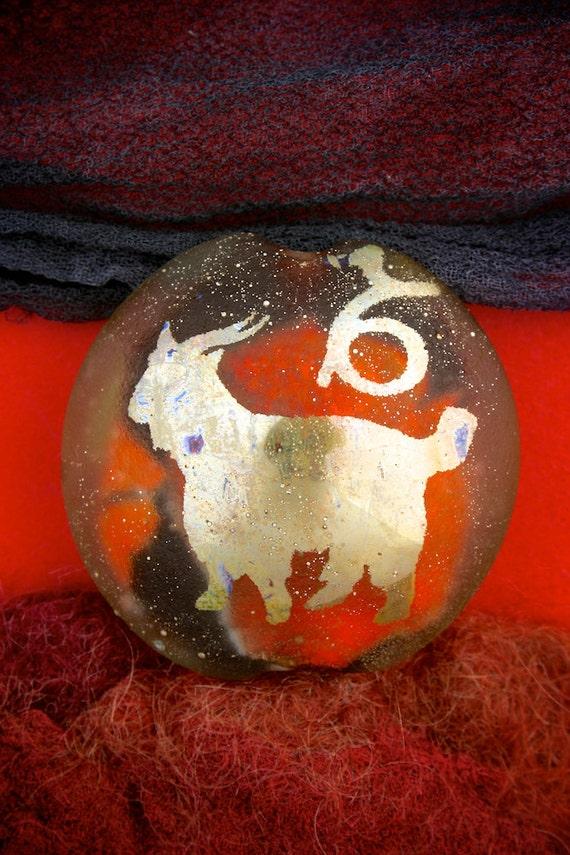 "SRA Lampwork Beads ""Capricorn"" Zodiac Sign Focal Dichroic Glass Lentil Bead Sandblasted Astrological Star Sign"