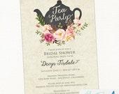 Tea Party Bridal Shower Invitation   Teapot, Watercolor, Flower, Shabby Chic Printable Invitation