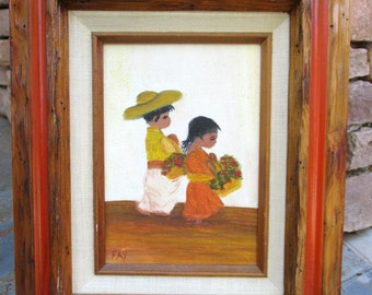 Vintage Latin America Mexico Children Boy Girl Primitive Naive Painting Framed Mexican Folk Art Signed Fay