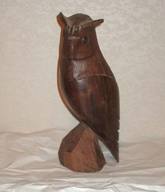 Vintage hand carved owl statue wood carving folk art wooden