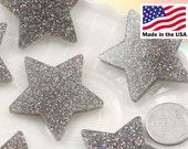 Resin Stars Cabochons - 40mm Silver Glitter Stars Resin Cabochons - 5 pc set