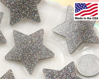 Resin Stars Cabochons - 40mm Silver Glitter Stars Resin Cabochons - 5 pc set