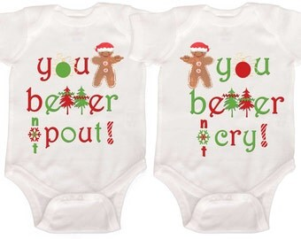 Funny Twin Christmas Bodysuits by Mumsy Goose Twin First Christmas Outfits Boy Girl Twins Boy Twins Girl Twins