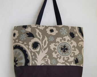 Black Stone Suzani XL Extra Large Beach Bag / BIG Tote Bag - Ready to Ship
