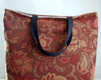 Brown Floral Chenille BIG Carry All Tote Bag - Ready to Ship