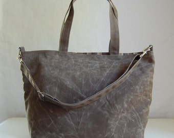 Olive Waxed Canvas Big Tote Bag with Cross Body Detachable Strap - Ready to Ship