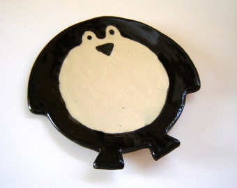 Penguin Spoon Rest Dish Plate or Tea Bag Holder Stoneware Pottery