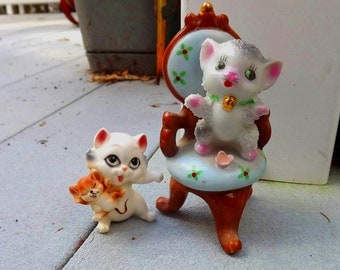 two circa 1960 kitty cat figurines - charity for animals