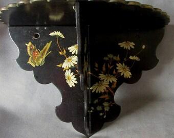 19thC Victorian Paper Mache Shelf, Daisy & Butterfly