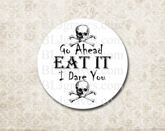Halloween Goth Stickers Skull Bones Eat It I Dare You Party Favor Treat Bag Stickers Envelope Seals  SH005