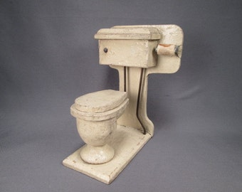 "Antique Wooden Dollhouse Furniture - Bathroom Toilet  - Large 1"" Scale"