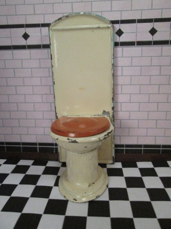 Antique german dollhouse bathroom furniture tin toilet for German made bathroom accessories