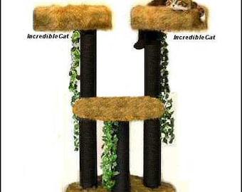 CAT SCRATCHING POST Trees 4' High Booulder, Designer Cat Tree, Elegant Cat Condo, Unique Cat Furniture Tree, Custom Cat Boulder 4FTw2BL