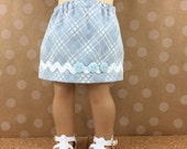 Fits American Girl 18 Inch Girl Doll Clothes Denim Skirt Light Blue and White Diagonal Plaid with Trim Girls Toy