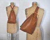Brown Leather Backpack / Bookbag Sling body bag
