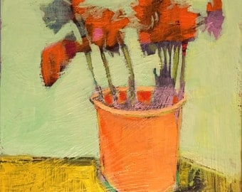 "Layers, Color and Flowers - Original Acrylic Oil Encaustic Still Life Painting -10""x 10"""