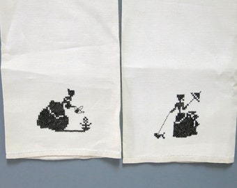 Vintage Cross Stitch Linen Towels Black Embroidery Pulled Thread Hem 1950s
