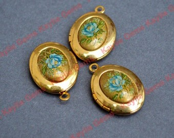3 Dainty Vintage Blue Rose Locket Oval 20x18mm - Only 3 Available
