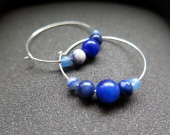blue earrings. sterling silver hoops. mixed stone jewelry.