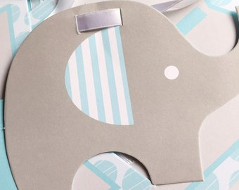 Baby shower elephant banner in blue or pink for your little peanut's special party.  Complete with ribbon.