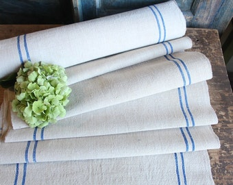 R 386 antique hemp linen bright BLUE  upholstery 9.837 yards CHECKERED  handloomed benchcushion Beachhouse look