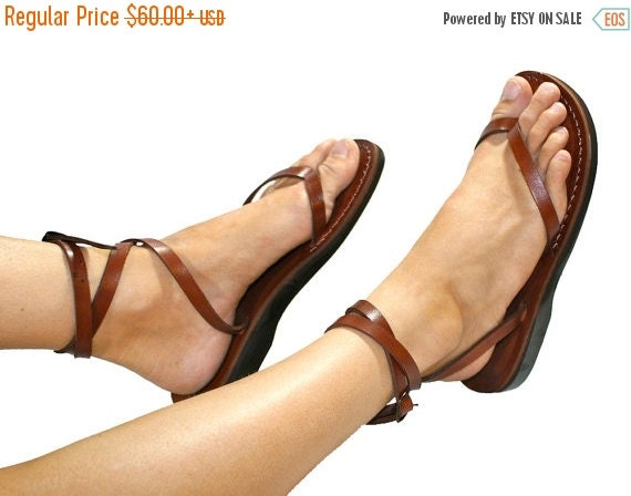 15% OFF Brown Ankle-Strap Leather Sandals for Men & Women - Handmade Sandals, Leather Flip Flops, Unisex Flat Sandals, Brown Leather Sandals