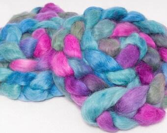 Spinning fibre, Masham, hand painted roving, fibre for spinning, spinning wool,  felting fiber, 100g, Colour ; Hope