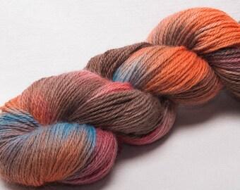 Hand painted  60% EXMOOR BLUEFACE  20 Silk 20 Alpaca yarn 100g Tuscany