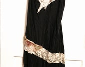 Vintage handmade flapper slipdress with beaded peacock and antique laces medium large