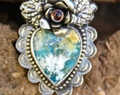 Recency Plume Agate and Turquoise Scared Heart Ring