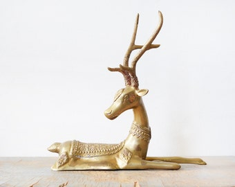 mid century brass deer, vintage brass deer figurine, large deer with antlers sculpture