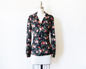 black floral blouse, vintage 70s strawberry floral blouse, medlim large semi sheer black blouse