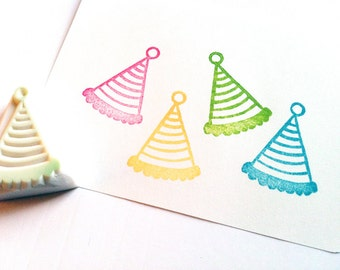 party hat rubber stamp. clown hat hand carved rubber stamp. diy birthday christmas party props. making tags cards favor bags. no1