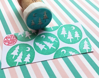 woodland stamp. tree and moon hand carved rubber stamp. camp stamp. birthday christmas scrapbooking. autumn winter holiday crafts. mounted