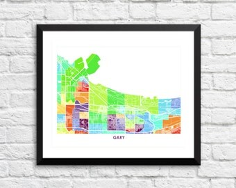 Gary Map Print.  Pick your Colors and Size.  Indiana Art Poster.