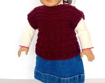 Crochet PATTERN Doll Clothes - Sweater - Crochet Pattern Doll Clothes - American Girl Doll