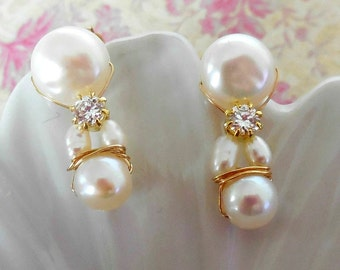 Gold Earrings Brilliance - Pearl in Gold 14KGF