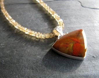Necklace of Mt. Saint Helens Jasper and Citrine in Sterling silver