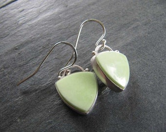 RESERVED  Earrings of Citron Chrysoprase in Sterling Silver