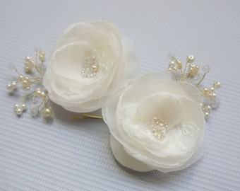 Confetti Pearl Hairpins, silk flower, floral bobby pin duo,  bridal accessories, wedding Hairpins