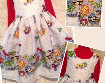 CUSTOM SIZES * Frog Border * handmade dress jumper for girl size 2 3 4 5 6 7 8 10 12 14 sewnbyrachel